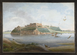 North view of the fort of Chunargarh on the Ganges from across the river.